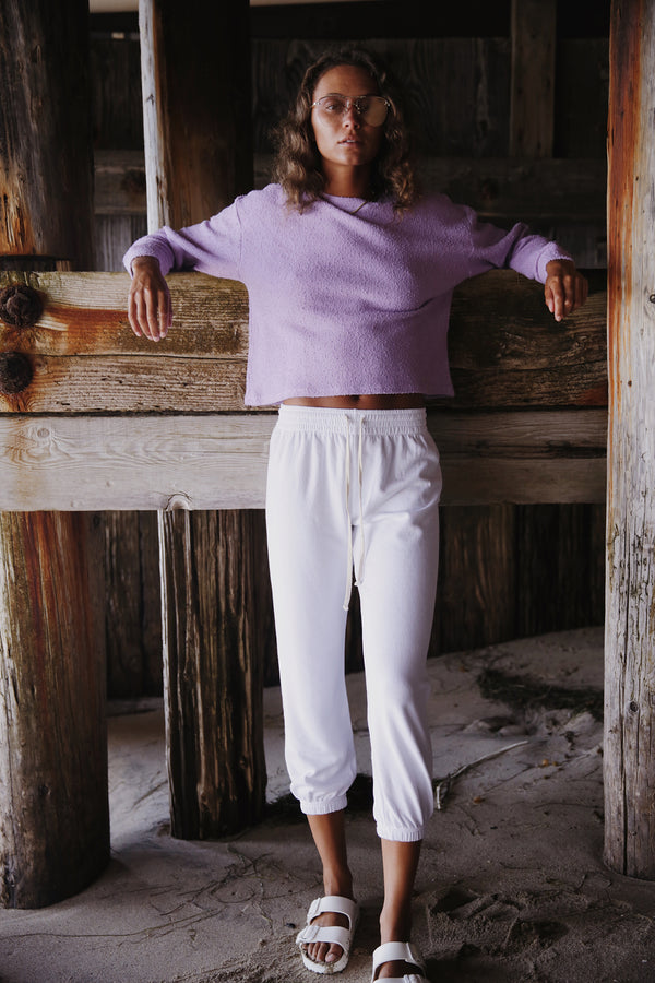 Model wearing the lady & the sailor Vintage Sweatshirt in Lavender Boucle.