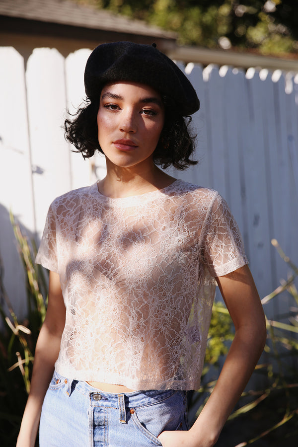 Model wearing the lady & the sailor Cropped Lace Tee in Nude Eyelash.