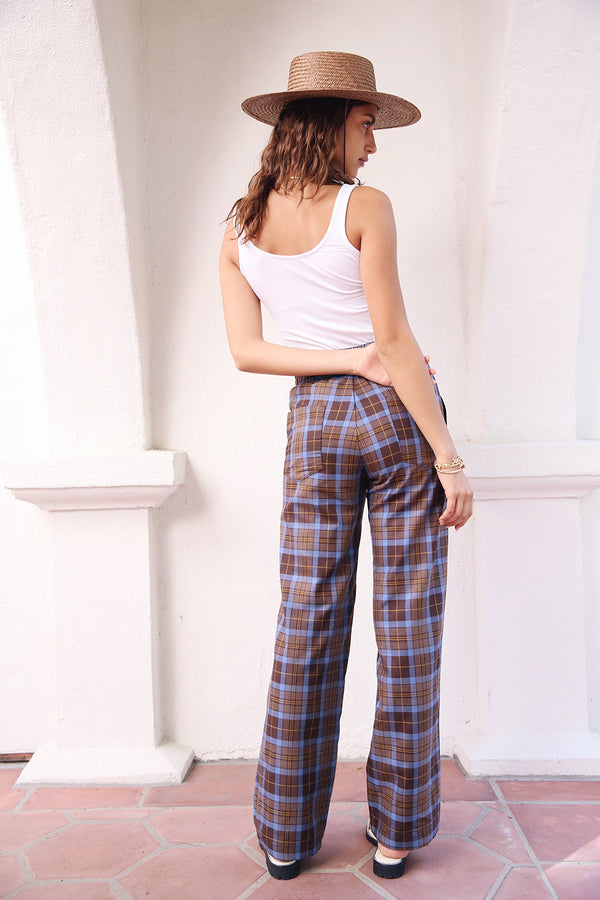 Model wearing the lady & the sailor High Waisted Pant in Mocha Plaid.