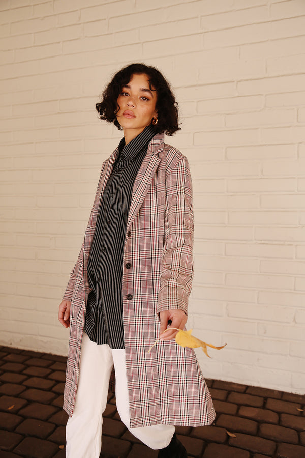 Model wearing the lady & the sailor Midi Blazer in Red Plaid.