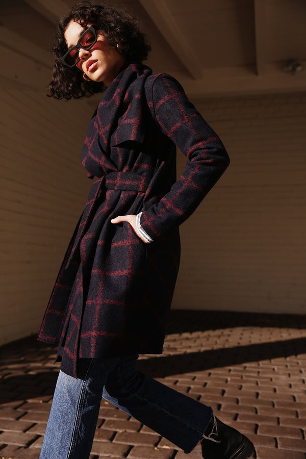Model wearing Harris Wharf Blanket Coat in Blue Windowpane.