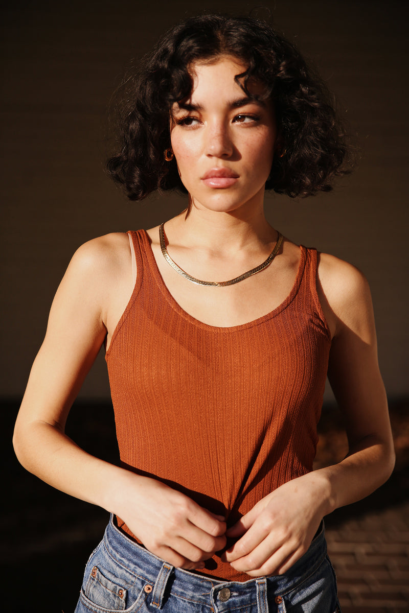 Model wearing the lady & the sailor Layer Tank in Copper Pointelle.