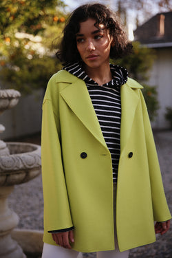 Model wearing Harris Wharf Dropped Shoulder Double Breasted Jacket in Lime.