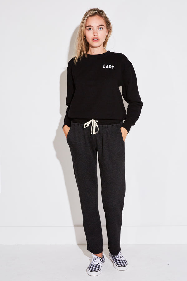 ANKLE PANT IN BLACK FLEECE