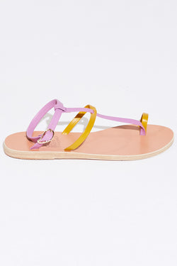 Ancient Greek Anthi Sandal in yellow/violet.