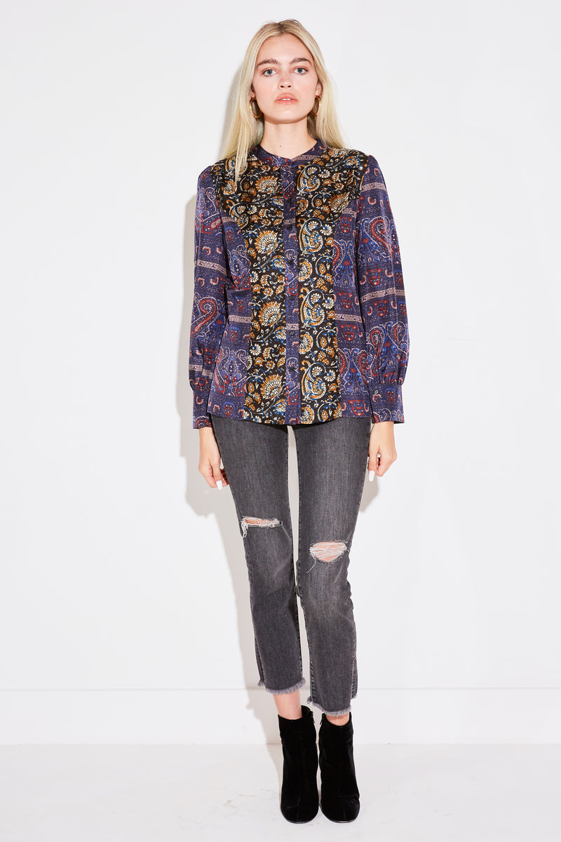 KEITH BAROQUE PRINTED SILK BLOUSE IN MULTICO