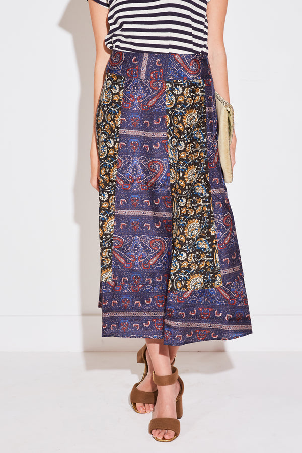 KEITH BAROQUE PRINTED SILK LONG SKIRT IN MULTICO