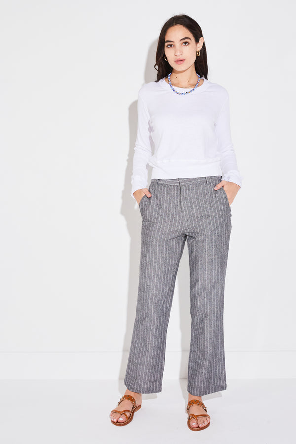Model wearing the lady & the sailor Ankle Trouser in Tomboy Stripe.