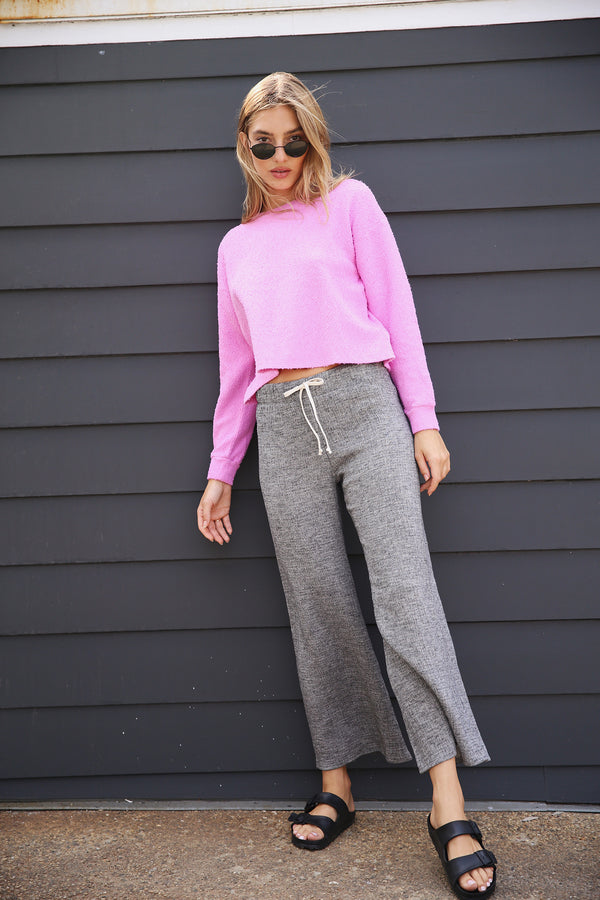 Model wearing the lady & the sailor French Flare Pant in Pepper Gauze.