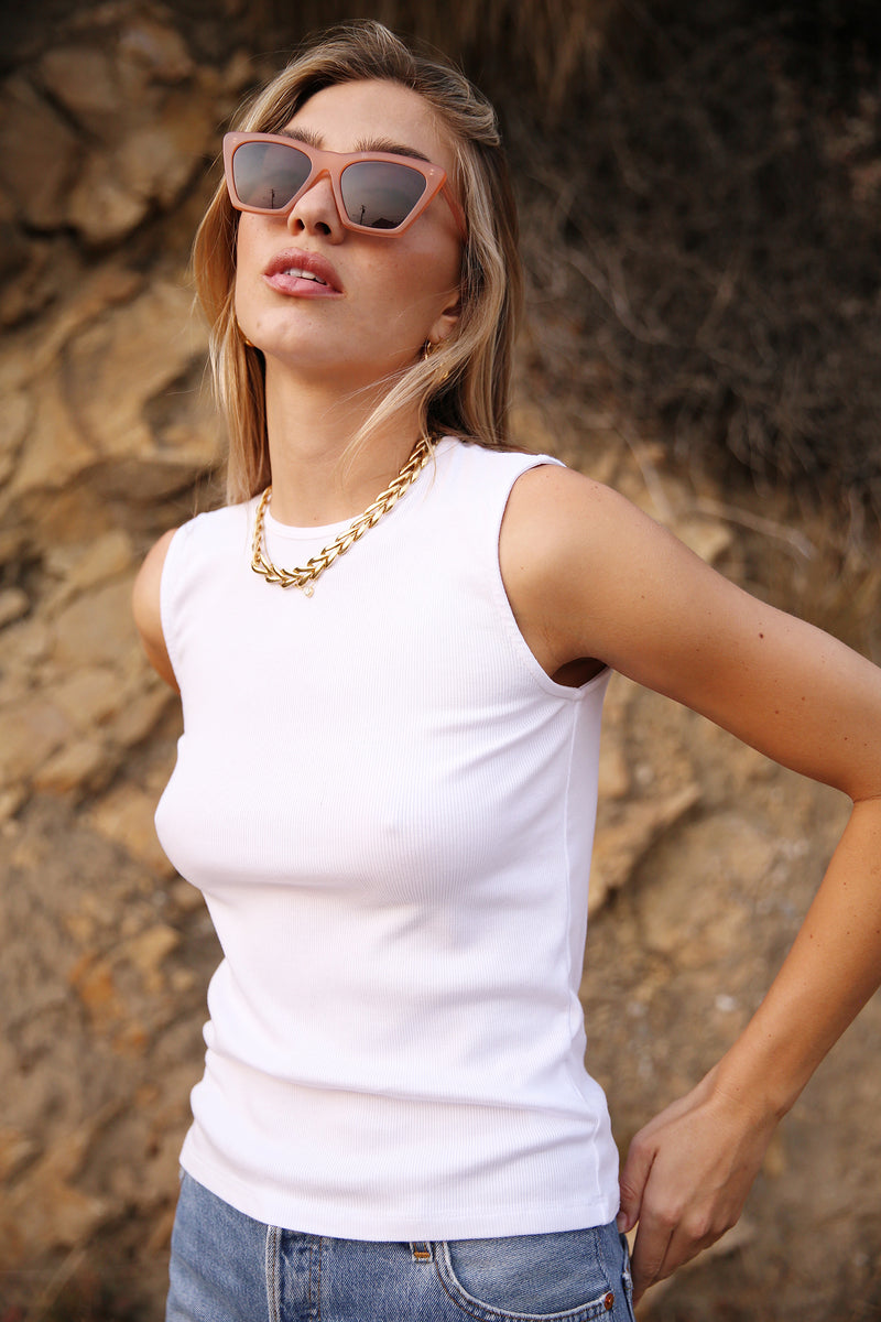 Model wearing the lady & the sailor Tomboy Tank in White Classic Rib.