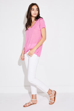 Model wearing the lady & the sailor Basic Tee in hibiscus tencel.