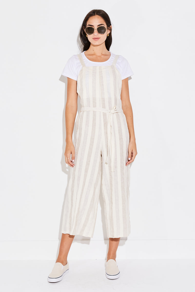 THE BEACH JUMPSUIT IN NATURAL LINEN STRIPE