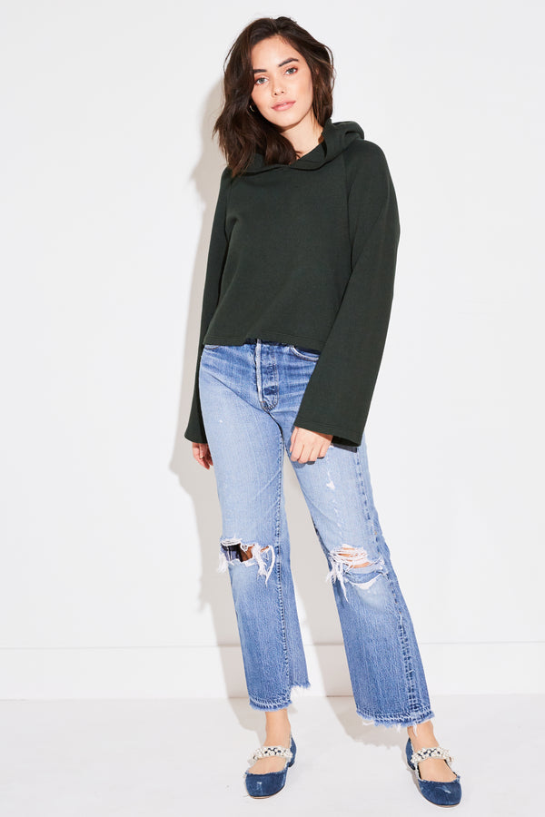 CROPPED BELL SLEEVE HOODIE IN FOREST