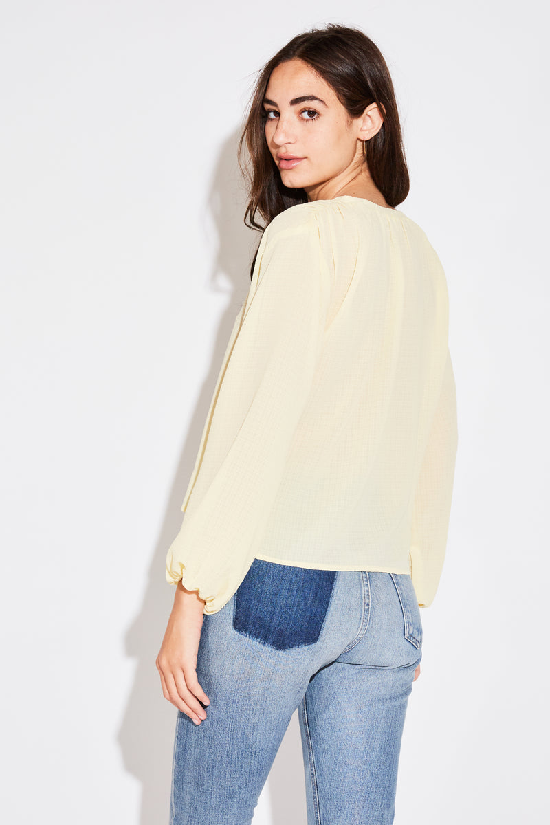 L/S BILLOW BLOUSE IN PALE YELLOW FRENCH WOVEN