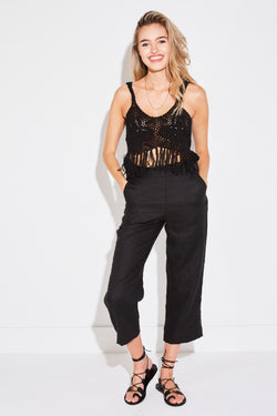 CROCHET FRINGE TANK IN BLACK