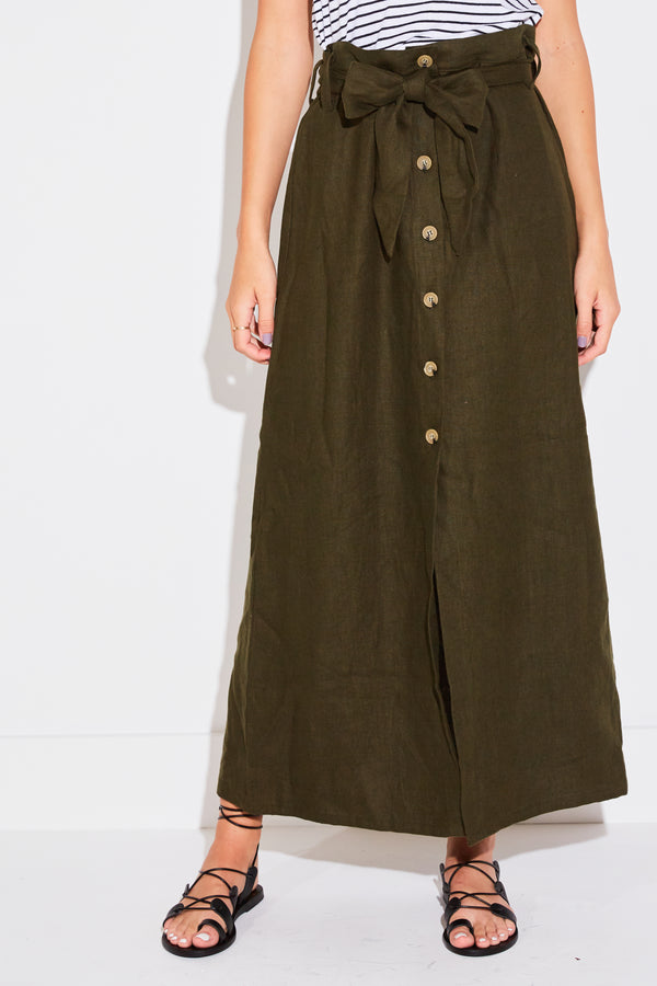BUTTON FRONT SKIRT IN ARMY LINEN