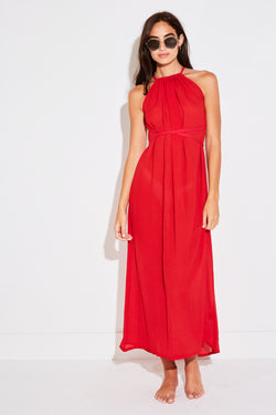 CADIZ DRESS IN RED CORAL FRENCH WOVEN