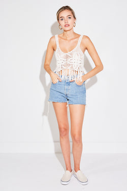 CROCHET FRINGE TANK IN WHITE