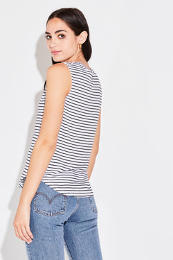 CROPPED MUSCLE TANK IN WHITE STRIPE