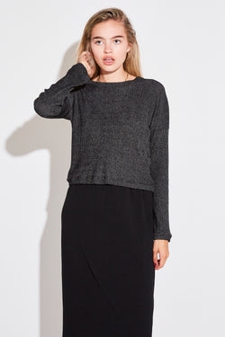 CROPPED SWEATER IN ANTHRACITE KNIT