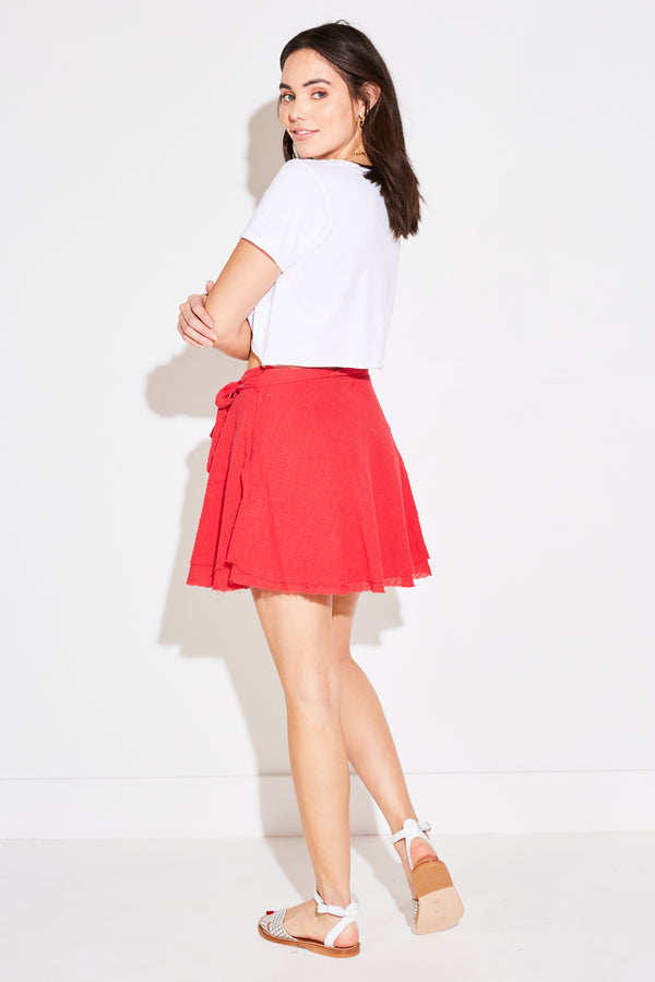 BIAS MINI SKIRT IN RED CORAL