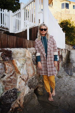 Model wearing the lady & the sailor Relaxed Collared Coat in Rust Plaid with Wheat Gingham.