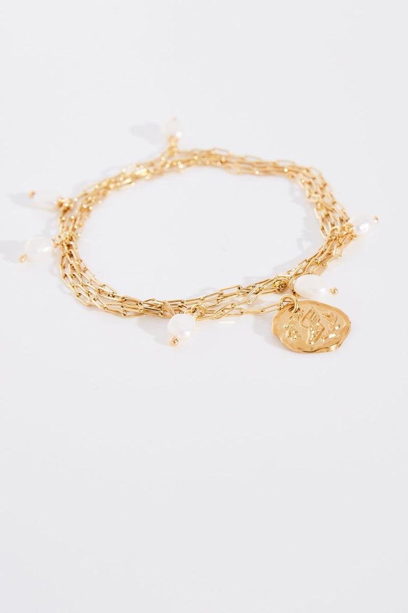 Ancient Greek Fine Chain Pearls Anklet in Gold.