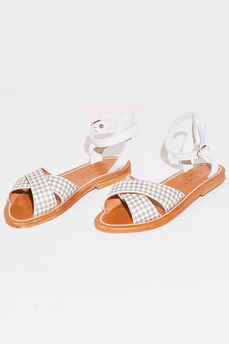 K. Jacques Dottie Sandal in vichy/pul blanc gingham.