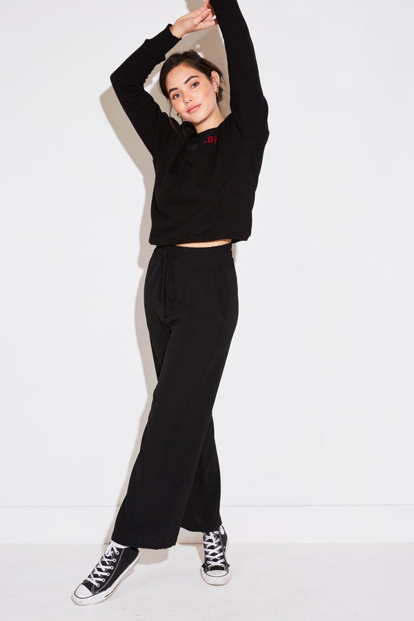 HIGH WAISTED PANT IN BLACK AIRFLOW