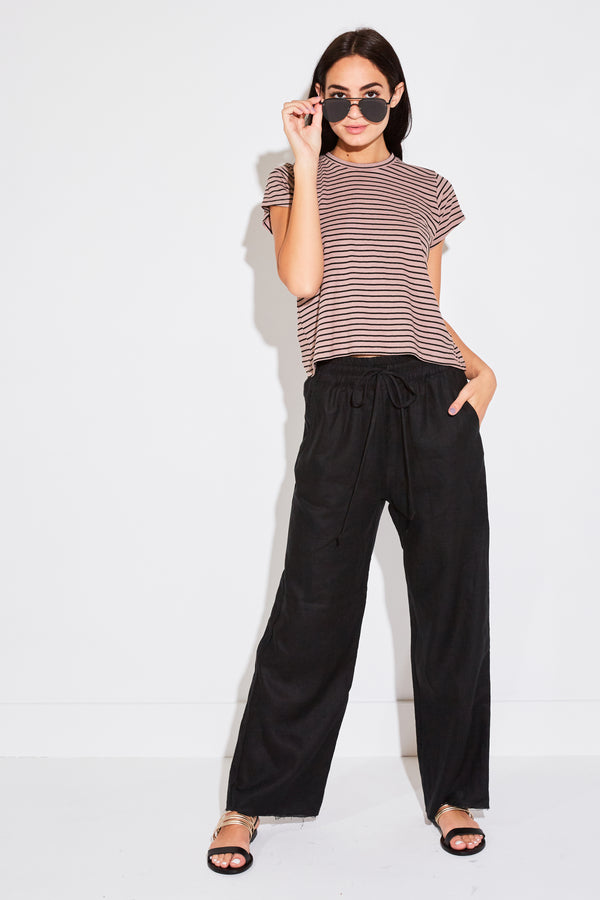 HIGH WAISTED PANT IN BLACK LINEN