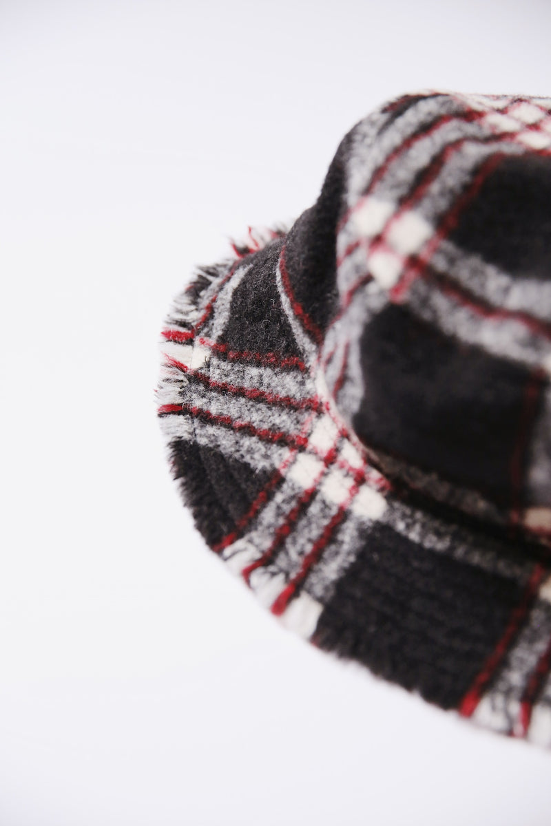 Hat Attack Flannel Bucket Hat in black and red plaid.