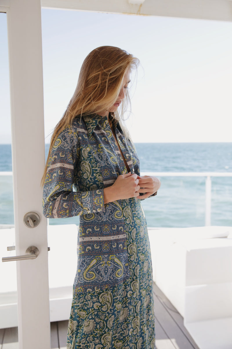Model wearing Antik Batik Khetie Silk Shirt Dress in Multi Paisley.