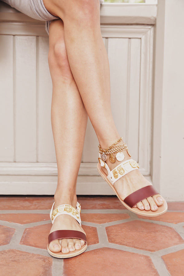 DINAMI ELEMENTS SANDALS IN OFF WHITE/CHESTNUT