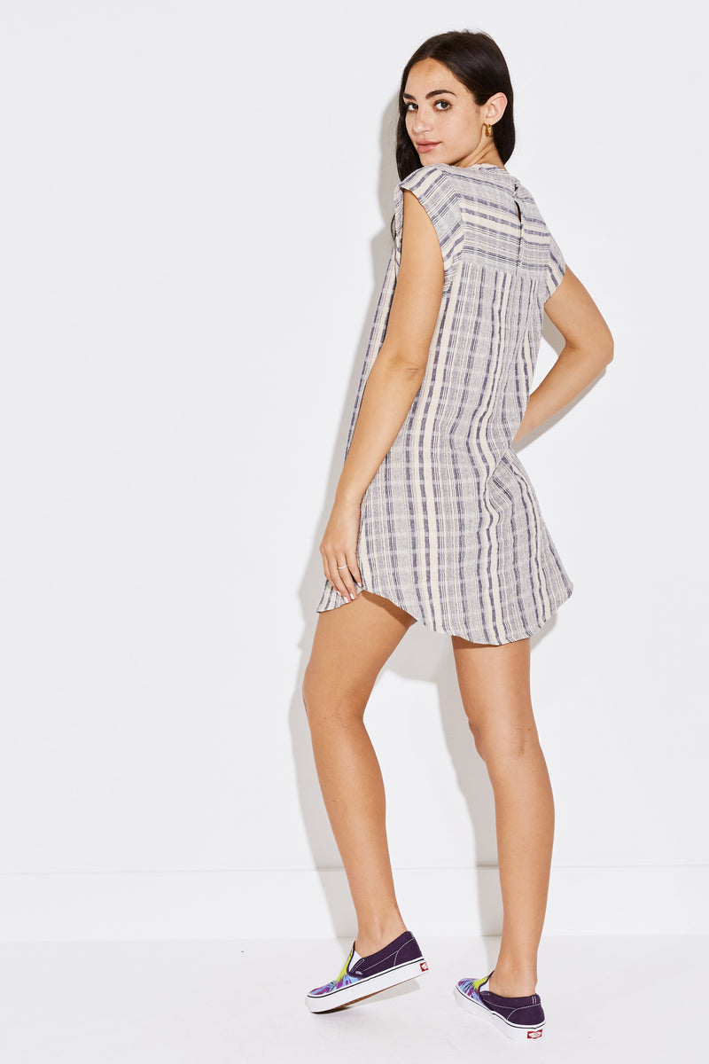 JUDE MINI DRESS IN NAVY JACQUARD STRIPE