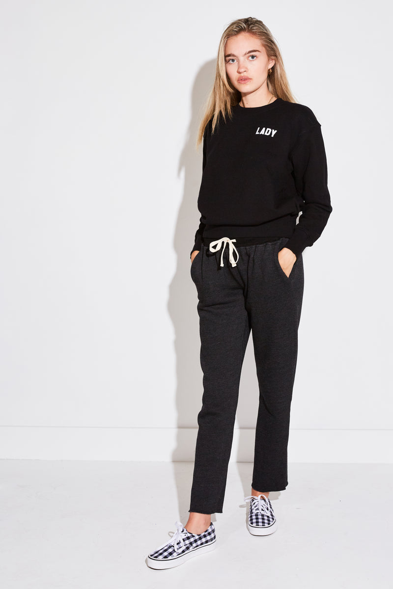 "FLOCKED ""LADY"" VARSITY CREWNECK SWEATSHIRT IN BLACK FRENCH TERRY W. WHITE"