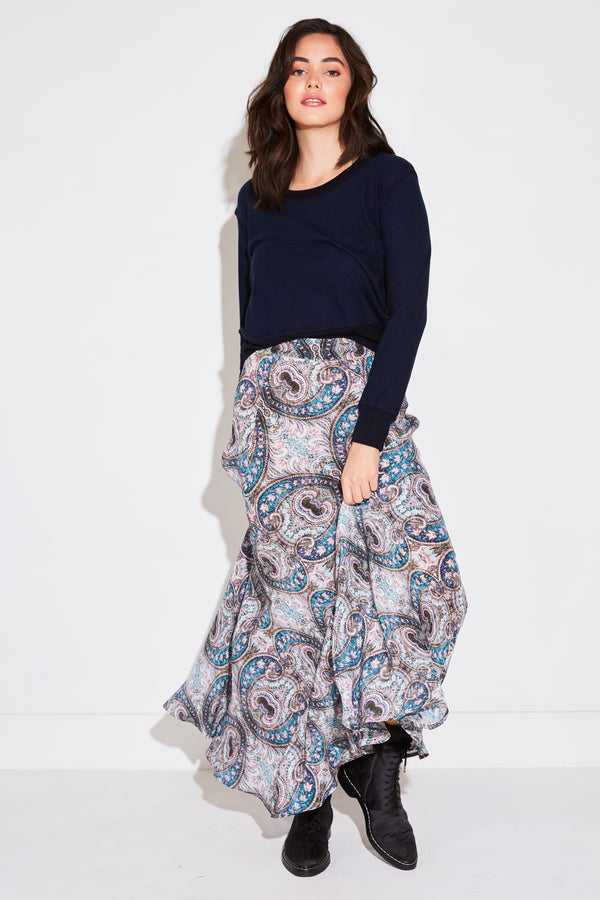SILK MAXI SKIRT IN STAINGLASS SILK