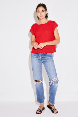 PLEATED SWING TEE IN RED FRENCH WOVEN
