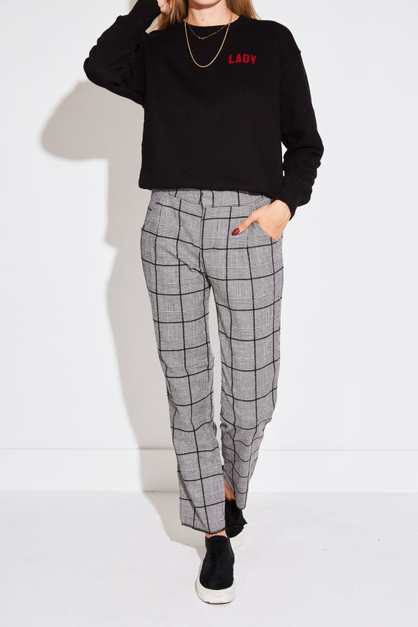 PLEATED TROUSER IN BLACK HOUNDSTOOTH