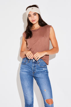 PLEAT SHOULDER TEE IN COCO COTTON