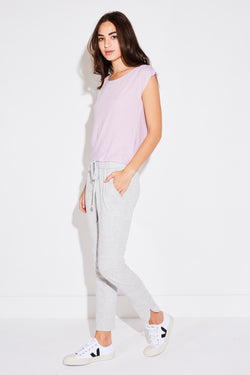 PLEAT SHOULDER TEE IN LILAC
