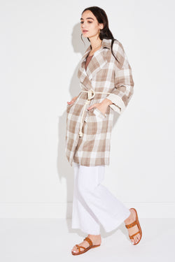 Model wearing the lady & the sailor Relaxed Collared Coat in Tawny Plaid