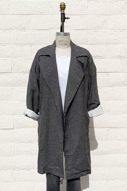 RELAXED COLLARED COAT IN CHARCOAL CONFETTI