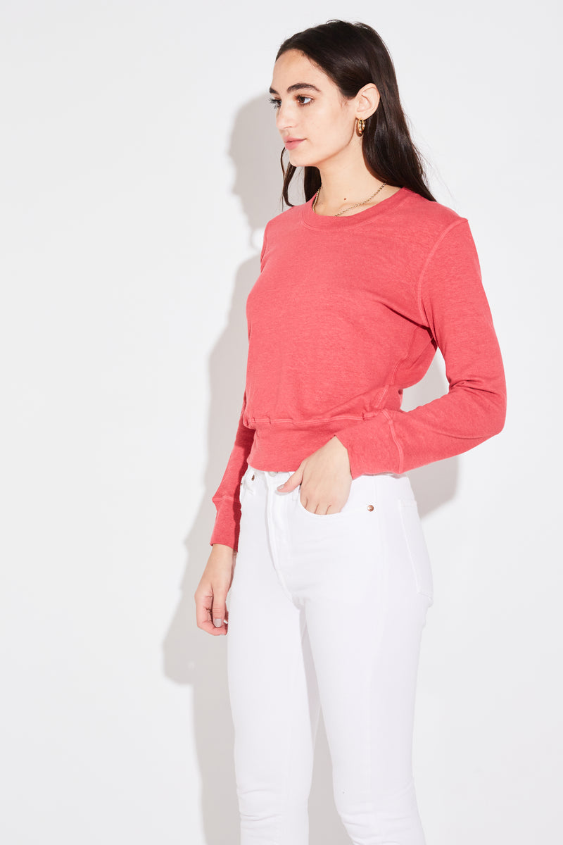 Model wearing the lady & the sailor Scoopneck Sweater in raspberry hemp cotton.