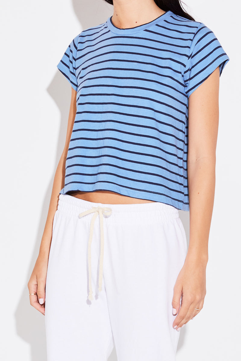 SHRUNKEN BF TEE IN SHORE BLUE STRIPE