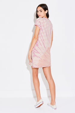 SPLIT SEAM MINI DRESS IN ROSE STRIPE AND PINK TIE DYE