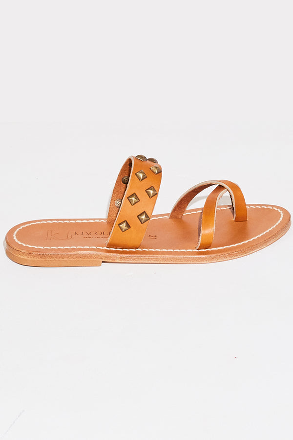 K. Jacques Tonkin Pyr Sandals in natural and bronze.