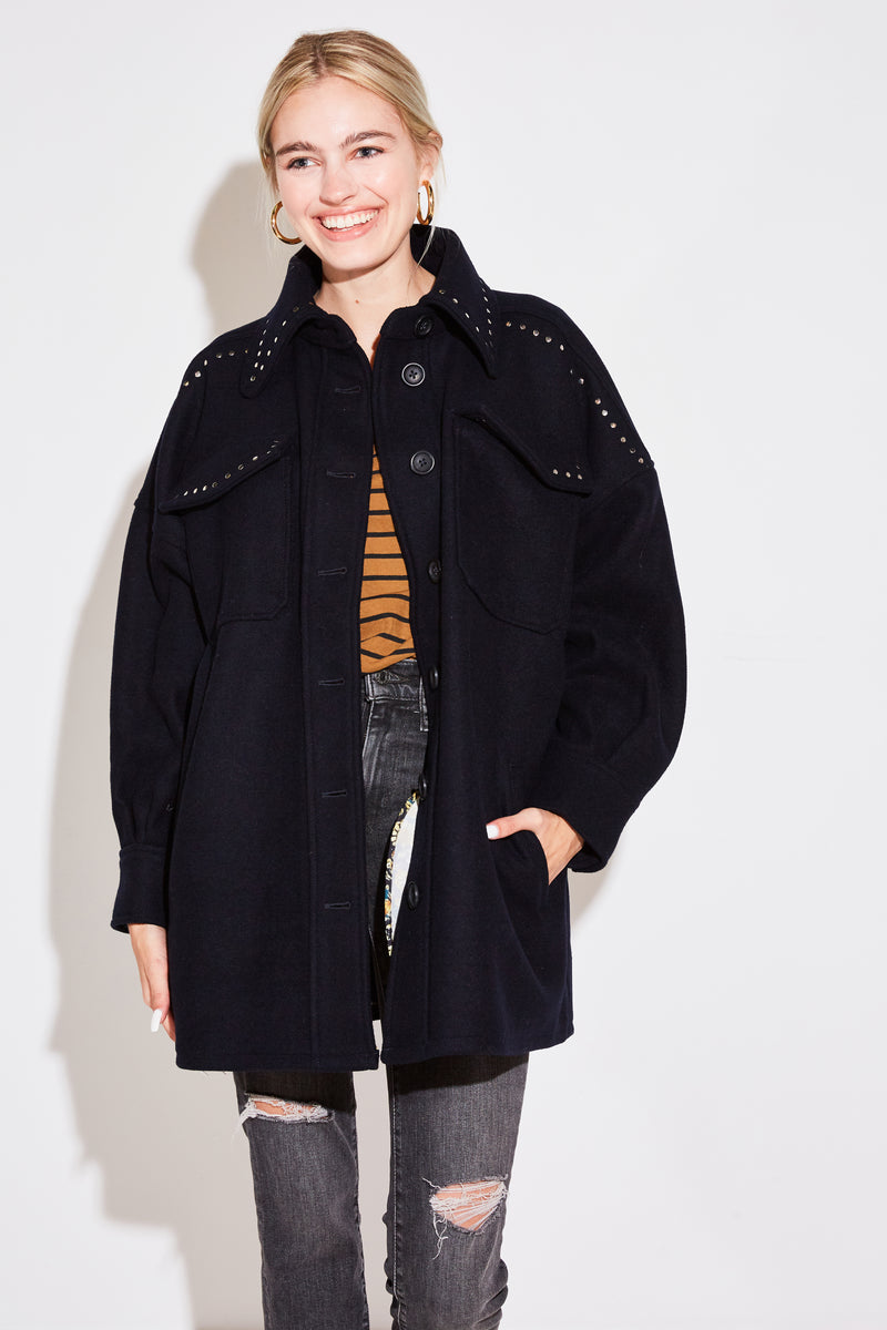 MOLLY OVERSIZED STUDDED COAT IN BLUE