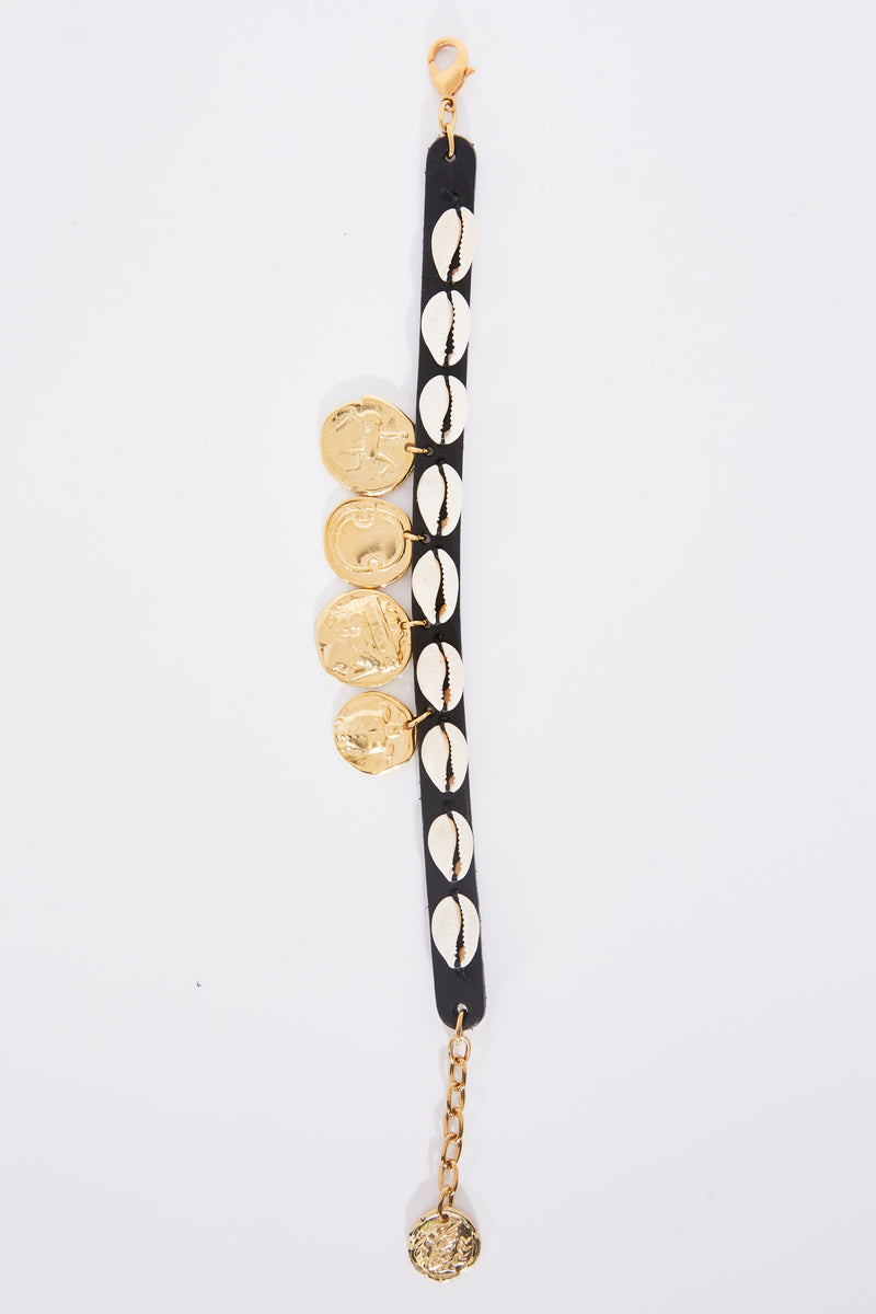 Ancient Greek and Lucy Folk Shells and Coins Anklet in Black Matte.