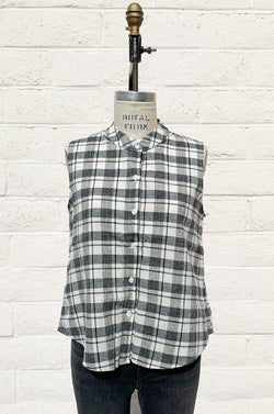 SLEEVELESS BUTTON UP IN SUMMER PLAID