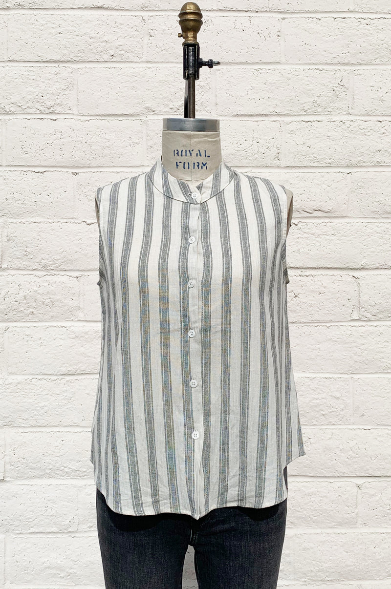 SLEEVELESS BUTTON UP IN NATURAL BEACH STRIPE